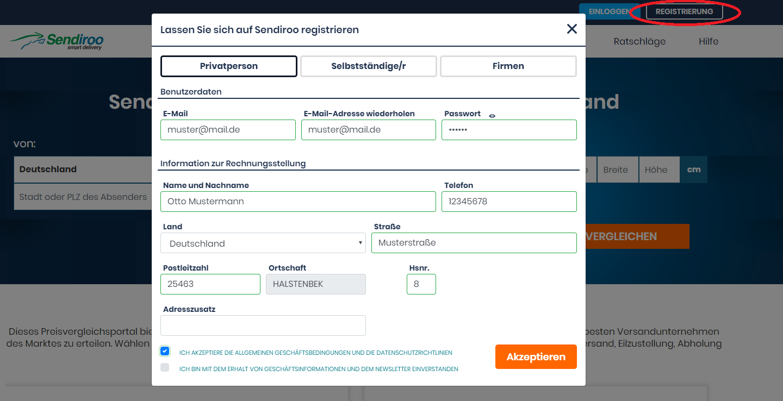 Benutzerbereich und Registrierung